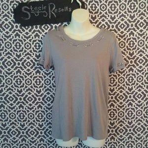Cato Gray Short Sleeve Blouse XS